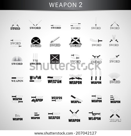 Sword Icons Set - Isolated On Gray Background - Vector Illustration, Graphic Design Editable For Your Design