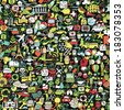 Symbels seamless pattern (repeated) with mini doodle drawings (icons). Illustration is in eps8 vector mode. - stock vector