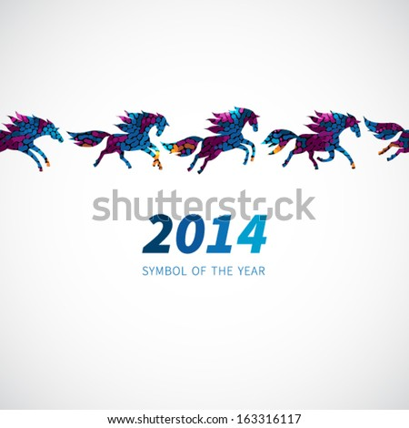 oriental chinese new year horse 2014 stock vector