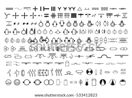industrial equipment machine vector icon stock vector 354592619 symbols in the wiring diagrams set of vector icons