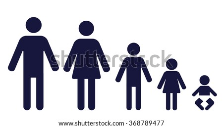 symbols of a man, woman, boy, girl and a baby in a row