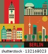 Symbols of Berlin.Vector - stock photo