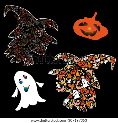 Symbols of Halloween witch, pumpkin and Ghost on a black background