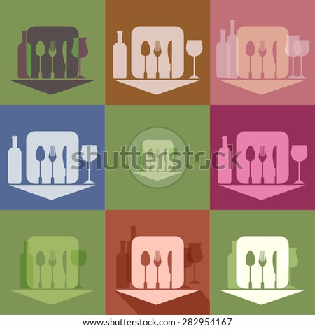 Tableware, restaurant and cafe, vector icons