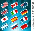 Tags Representing World Flags. - stock photo