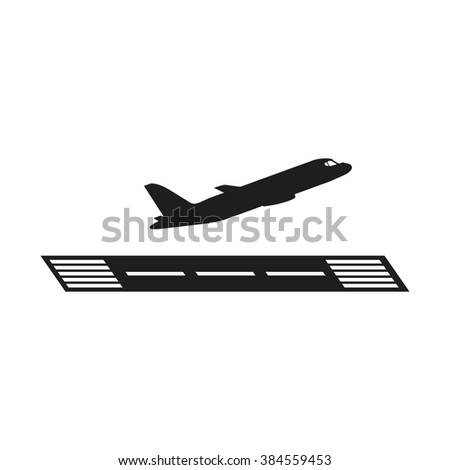 Take off airplane icon. Vector airport pictogram. Black airfield symbol.