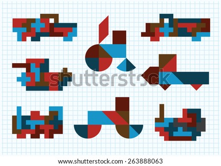 Tangram ground transportation on a white background