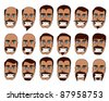 Tanned Skin, Blue Eyes, Man, with Various Mustache and Hair Styles - stock vector