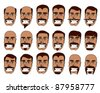Tanned Skin, Brown Eyes, Man, with Various Mustache and Hair Styles - stock vector