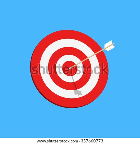 Target with arrow, goal achieve concept. Vector illustration