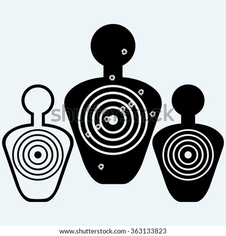 Target with bullet holes. Isolated on blue background. Vector silhouettes