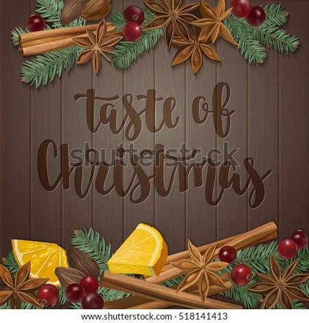 Taste Christmas Decorative Vector Illustration Handwritten Stock ...