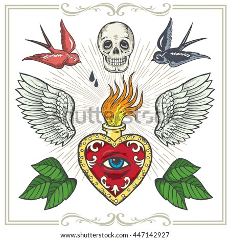 Tattoo-art design.Wings,Hourglass, Skull Eye of Providence. Hand-drawn vector images. Good for printing on t-shirt. Easy to edit.