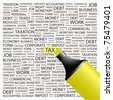 Tax. Highlighter over background with different association terms. Vector illustration. - stock photo