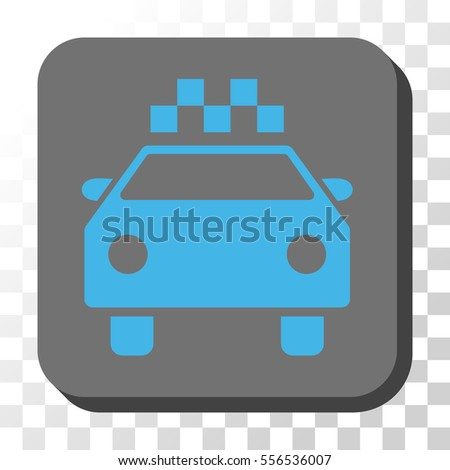 Taxi Automobile interface toolbar icon. Vector pictogram style is a flat symbol in a rounded square button, blue and gray colors.