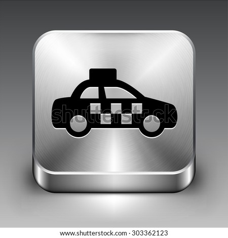Taxi Cab on Silver Square Button