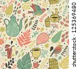 Tea and coffee drinking concept background. Vintage floral seamless pattern. - stock vector