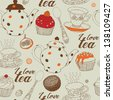 Tea background with cakes. Vector illustration. - stock photo