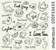 Tea cups and teapots sketchy doodles vector - stock photo
