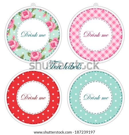 Set Vintage Cupcake Wrapper Templates Roses Stock Vector - Cupcake name tag template