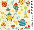 Tea time seamless pattern - stock