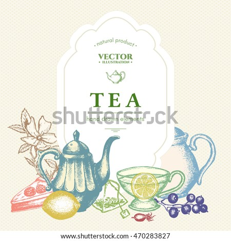 Tea vector card, tea elements design hand drawn illustration