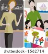 Teacher illustrations series. 1) Music teacher teaching a lesson in a classroom. 2) Art teacher and her class in a classroom. - stock photo