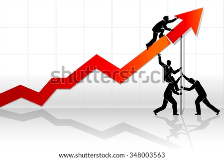 Teamwork Line Graph-Abstract business concept of men placing a positive arrow