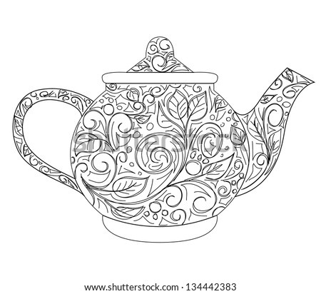 Teapot Coloring Page Adults Zentangle Style Stock Vector ...