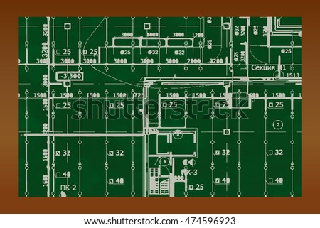 Technical drawing on green board