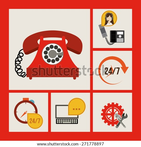 Technical service design over red background, vector illustration