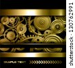 Technology background gold metallic gears and golden cogwheels, vector. - stock vector