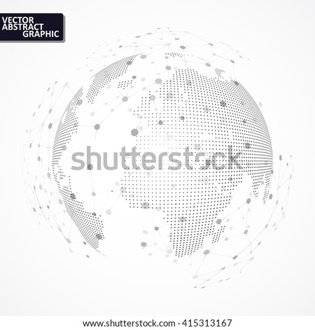 Technology image of globe. Point and curve constructed the sphere. The concept vector illustration eps10