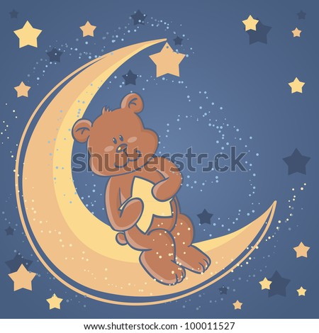 Teddy bear sitting on a moon and holding a star for sweet dreams wishes card