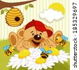 teddy bear watching bees on daisy - vector illustration - stock