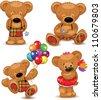 Teddy bears, set. Vector illustration. - stock vector