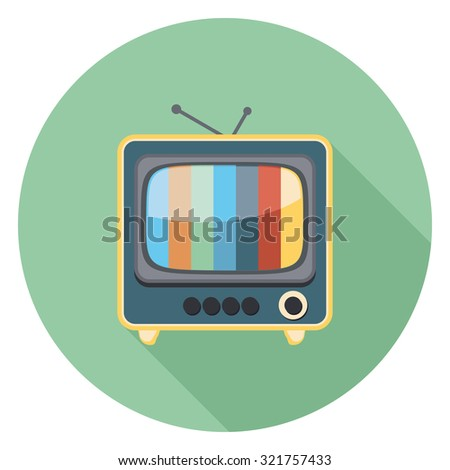 television flat icon in circle