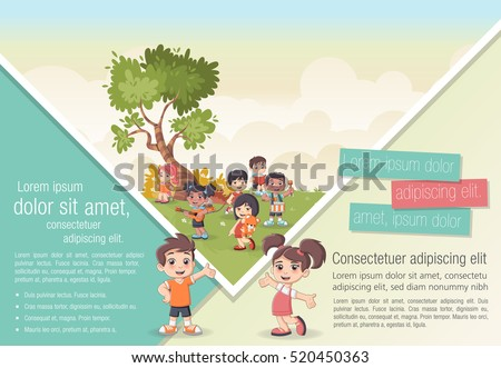 Template for advertising brochure with cute cartoon kids playing. Sports and recreation.