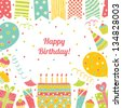 Template for Happy birthday card with place for text. - stock vector