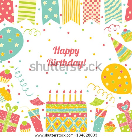 Template Happy Birthday Card Place Text Vector 134828003 – Birthday Card Template