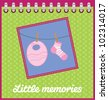 Template frame design for baby memories with baby accessories, scrapbook concept, vector background - stock vector