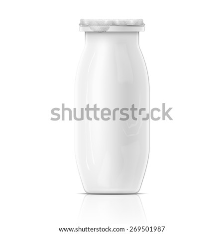 Template of small blank yougurt bottle with foil cover on white background. Packaging collection.