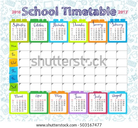 Template School Timetable Lessons Calendar 20162017 Vector – Days of the Week Calendar Template