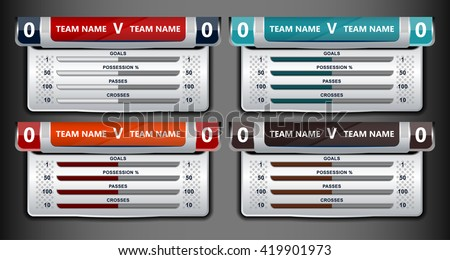 template scoreboard sports for football or soccer, vector illustration