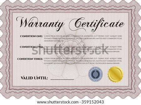 Template Warranty certificate. With complex background. Complex border. Retro design.
