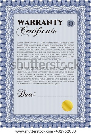 Template warranty certificate sample text easy stock vector template warranty certificate with quality background border frame superior design yadclub Gallery
