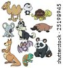 Ten cute cartoon animals. All in different layers for easy editing. - stock vector