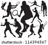 tennis vector silhouette - stock vector