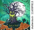 Terrible Halloween cartoon tree with a grin at midnight on October 31 on the cemetery - stock photo