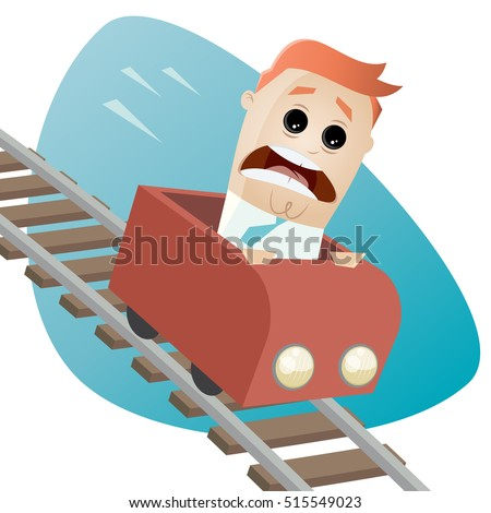 terrified businessman in a roller coaster